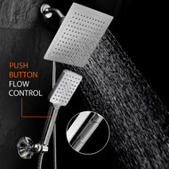 "Dream Spa® Ultra-Luxury 9"" Rainfall Shower Head/Handheld Combo. Convenient Push-Button Flow Control Button for easy one-handed operation. Switch flow settings with the same hand! (Premium Chrome)"