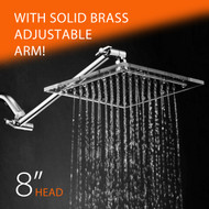HotelSpa® Square Stainless Steel 8-inch Shower Head with Clear Acrylic Rim and Solid Brass Adjustable Extension Arm