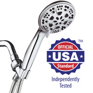 AquaDance® 6-Setting 5-inch Chrome Face Handheld Shower Head with Hose