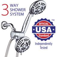 AquaDance® Premium High-Pressure 3-Way 30-Setting Shower Head/Hand Shower Combo