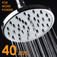MegaRain Rainfall High Pressure 6 inch Shower Head by AquaSpa® - Angle Adjustable Solid Brass Ball Joint - 40 Jets - Full Chrome Finish - Excellent Performance at High or Low Water Pressure
