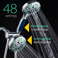 NOTILUS Antimicrobial High-Pressure Luxury 3-in-1 Shower Spa Combo - 48 Settings, 2-Zone Antimicrobial Anti-Clog Nozzles, Antimicrobial Anti-Slip Grip, Stainless Steel Hose / All-Chrome Finish