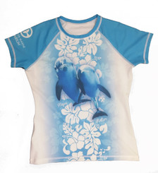 Blue and White Women's Rash Guard
