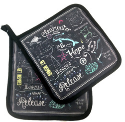 Chalk Print 2pc Pot Holder