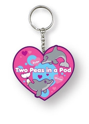 Support optimism and persistence by showcasing on one keychain these two captivating iconic dolphins from the Clearwater Marine Aquarium, Winter and Hope together-- what an irresistible pair!