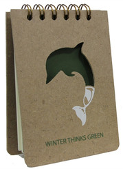 Winter goes GREEN! This notepad is made out of recyclables and comes with a matching pen that conveniently clips on the side. Help save the earth one note at a time!