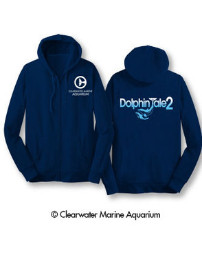 Dolphin Tale fans, it's time to get comfortable in our NEW DT 2 hoodies. Stay warm in style while wearing these super soft exclusive sweatshirts.   Features: Navy Dolphin Tale 2 Logo Clearwater Marine Aquarium Logo 50% Cotton 50% Polyester