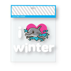 "Want a fun, easy way to show your love for Winter the dolphin?  Have no fear ""I love Winter"" stickers are here! Just peel and stick to share the love."