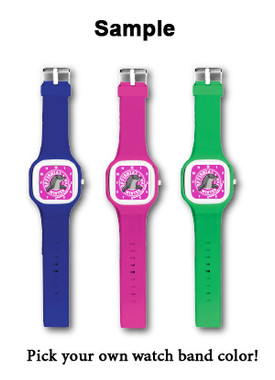 """Are you an """"offishial"""" Winter fan?! Now is the TIME to create and customize your very own Winter Dolphin watch! Each Winter watch face can be combined with a colored watch band making it easy for you to mix and match. Batteries are included."""