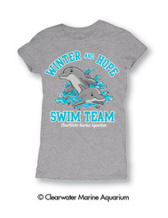 Swim Team Junior's Tee with crew neck, baby rib, fine fit, and soft hand ink made with 100% ringspun cotton in athletic htr.