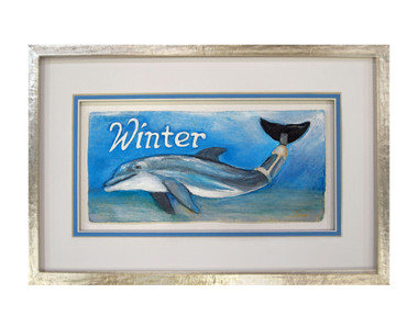 Fine Art Painting and Sculpted Paper Mold artwork featuring Winter the Dolphin as featured in the Dolphin Tale 2 movie telling the story of one of our favorite Clearwater Aquarium dolphin rescues.