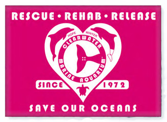 Retro Rescue Pink Rectangle Magnet