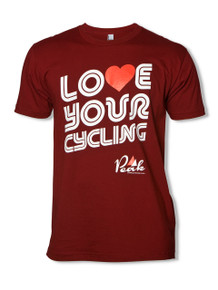 Peak 'Love Your Cycling' T-Shirt in Cranberry.