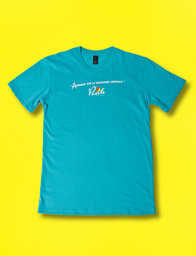 Peak Cycle Wear Attack T in Teal. Front design in French.