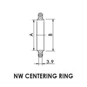 NW 25 Centering Ring, Viton®, Stainless Steel - drawing