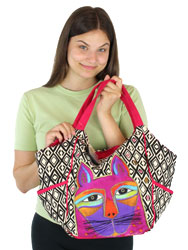 Laurel Burch Whiskered Cats Fuchsia Scoop Tote Bag LB5630A