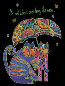 "Laurel Burch Card Friendship - ""Cats Under Umbrella"" - FRG13249"