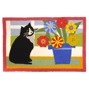 Cat Flowers Rug Indoor Outdoor Washable Mat  JB-STS024