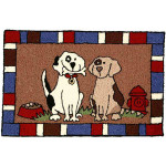 Two Happy Dogs Rug Indoor Outdoor Washable  JB-TR010