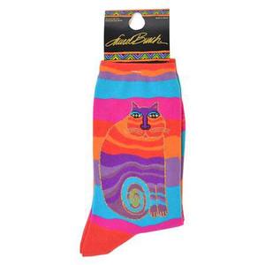 "Laurel Burch Socks   ""Wavy Stripe Rainbow Cat"" -  LB1035"