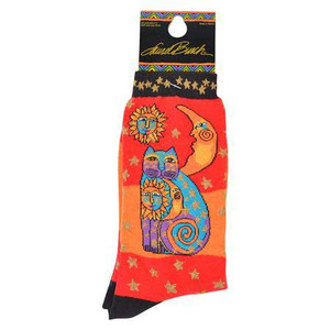 "Laurel Burch Socks ""Celestial Cat"" Orange - LB1073OR"