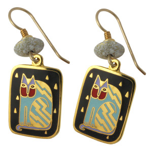 "Laurel Burch ""Fantasticat"" Cat Drop Enamel Earrings - LB108B"