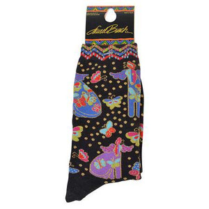 "Laurel Burch Socks ""Dog with Papillion"" Black - LB1101B"