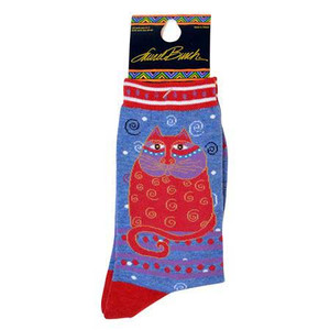 "Laurel Burch Socks ""Crimson Cat"" Denim- LB1104D"