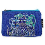 "Laurel Burch Cotton Canvas Cosmetic Bag ""Indigo Cats"" - LB2090E"