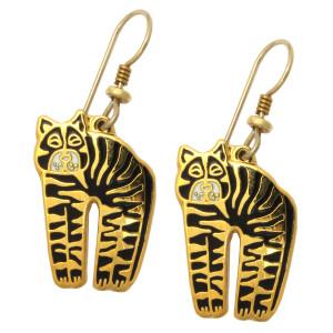 "Laurel Burch ""Jungle Cat"" Drop Goldtone Enamel Earrings - LB4111-5"
