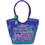 "Laurel Burch ""Green Cats"" Large Scoop Bag / Purse - LB412"