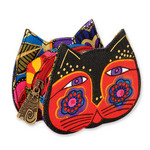 Laurel Burch Cat Face Dimensional Canvas Zip Coin Purse - LB4300A