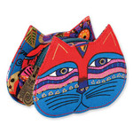 Laurel Burch Cat Face Dimensional Canvas Zip Coin Purse - LB4300B