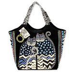Laurel Burch Polka Dot Gatos Large Scoop Tote - LB4310