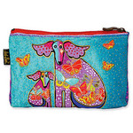 "Laurel Burch Dog Cotton Canvas Cosmetic Bag ""Papillon"" - LB4640A"