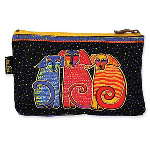 "Laurel Burch Dog Cotton Canvas Cosmetic Bag ""Canine Family"" - LB4640B"