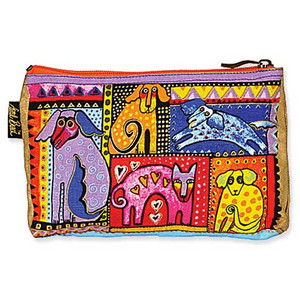 "Laurel Burch Dog Cotton Canvas Cosmetic Bag ""Dog Portraits"" - LB4640C"