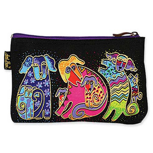 "Laurel Burch Dog Cotton Canvas Cosmetic Bag ""Dogs & Doggies"" - LB4640D"