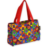 Laurel Burch Quilted Diamond Cat Masks Medium Tote Bag - LB4811