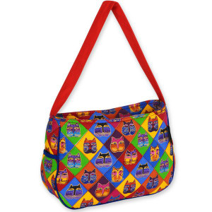 Laurel Burch Quilted Diamond Cat Masks Medium HoboTote Bag - LB4812