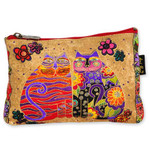 Laurel Burch Cotton Canvas Cosmetic Bag Flowering Feline- LB4880B