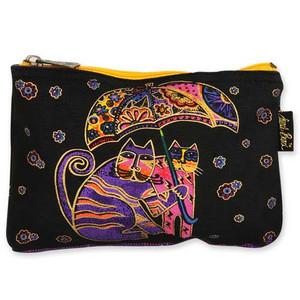 Laurel Burch Cotton Canvas Cosmetic Bag Polka Dot Cats - LB4880C