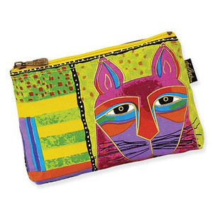 Laurel Burch Whiskered Cats Cosmetic Bags Lime Green LB5321C