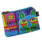 Laurel Burch Whiskered Cats Cosmetic Bags Blue Green LB5321D