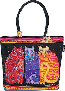 "Laurel Burch ""Feline Friends"" Large Square Tote - LB771"