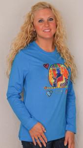 "Blue Laurel Burch Long Sleeve Tee Shirt ""Woman Spirit""  LBC215"