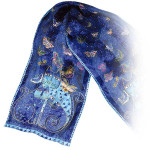 "Laurel Burch Silk Scarf ""Indigo Cats"" - With Sequins - LBS101"