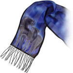 "Laurel Burch Silk Scarf ""Indigo Horse"" With Fringe - LBS126"