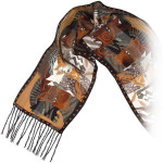 """Laurel Burch Silk Scarf """"Moroccan Mares"""" with Fringe - LBS136"""