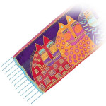 "Laurel Burch Silk Scarf ""Wild Cats"" with Beaded Fringe - LBS139"